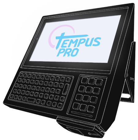 A simple wireframe of a Tempus Pro data collection terminal, viewed from the side
