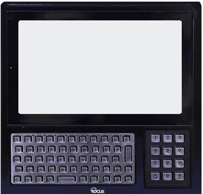 A Tempus Pro data collection terminal viewed from the front. Its screen is illuminated white