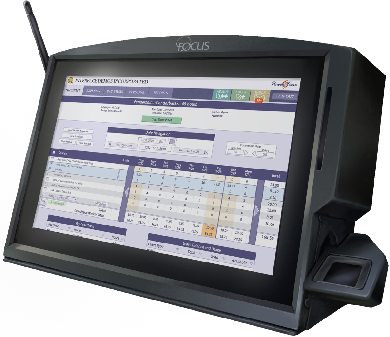 A Tempus data collection terminal, viewed from the front. The screen shows a view of Focus Inc's PowerTime Software
